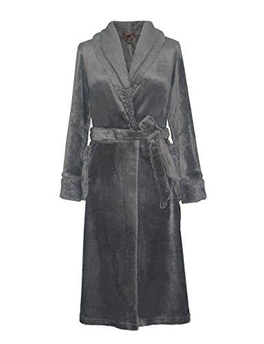 Raikou Kuschel weicher Bademantel Hausmantel, Loungewear Saunamantel für Damen, aus luxuriösem Flausch Coral Fleece auch als Morgenmantel perfekt (Anthrazit,36/38)