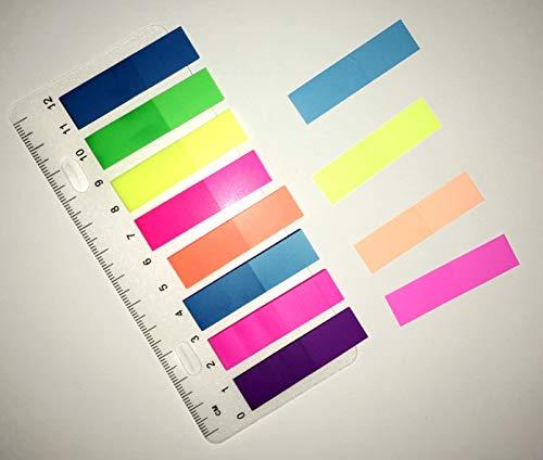 """Haftstreifen 200 Streifen 8 Farben je 25 Stück Haftmarker Haftnotizen Page-Marker Marker Haftstreifen Neon + Lineal\""""EINWEG\""""-verpackt(1)"""