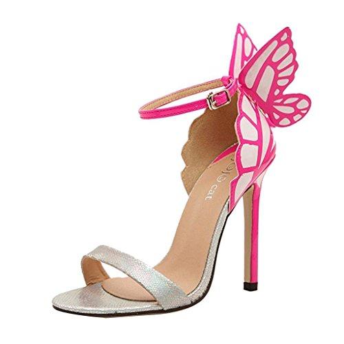 Minetom - Sandali da donna con tacco a spillo e farfalla sul tallone Silver