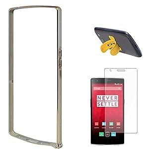DMG Luxurious Aluminium Metal Bumper Case For Cyanogen One Plus One (Silver) + Touch U Silicone Stand + Matte Screen