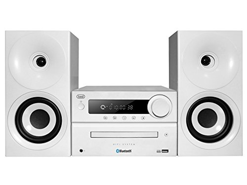 Trevi HCX 1080 BT Sistema Stereo HiFi con CD, Mp3, USB, Line-In, Bluetooth, Radio FM PLL e Presa Cuffie, Bianco