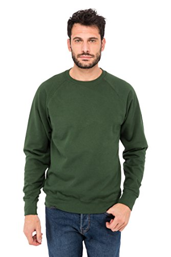 Fruit of the Loom Herren Sweatshirt Raglan Sporthemd, Grün (Green 38), Large Band Crewneck Sweatshirt