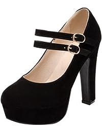 UH Damen Mary Jane High Heels Plateau Pumps mit Blockabsatz und Schnalle 12cm Absatz Geschlossen Schuhe