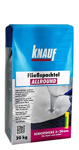 Knauf Allround Fließ-Spachtel, Ausgleichs-Masse, 20-kg - Spachtel-Masse, Ausgleichs-Spachtel, selbstverlaufend, hohe Endfestigkeit, spannungsarm, frostsicher, für 3-mm bis 30-mm Schichtdicken