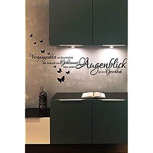 Wandtattoo-Wandaufkleber - Spruch/Wohnzimmer ***Vergangenheit ist Geschichte.*** (inkl. Schmetterlingset) Größen u. Farbauswahl