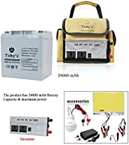 24A Rechargeable Battery with Inverter 12V-220V, 24A Battery for camping 24000mah Power