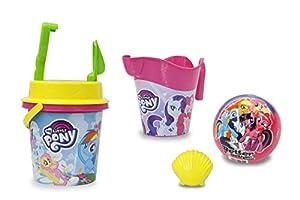 Jamara 410130 My Little Pony - Juego de Cubos de Arena (7 Piezas, con Licencia, Cubo y Pala, Palas, moldes, regadera, Pelota, colador de Arena), Color Rosa