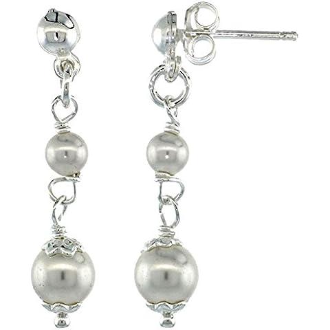 Revoni-Orecchini pendenti in argento con perle Swarovski, 1 1/10 cm, alto, 32 mm - Perla Pendente Cluster