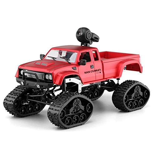 Kaiaki Ferngesteuertes Auto, RC-Car-Rock-Racing-Crawler-Truck 4WD 1:16 2,4 GHz RC Geländewagen, LED-Licht drahtlose Fernbedienung HD-Kamera 0.3MP,Red