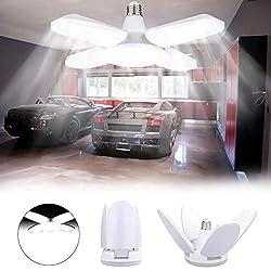 LED Garagenleuchten,LACYIE Einstellbar Garage Deckenleuchten 80W Led Shop Lichter 8000 LM 6500K E26/E27 Garagenbeleuchtung mit 4 verstellbare Verkleidungen für Werkstatt Keller Korridor(weißes Licht)