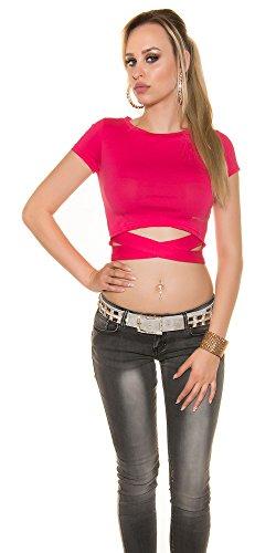 Blanco Store - Top Donna Stretch Canotta Con Incrocio T-Shirt Elasticizzata Taglia Unica Fucsia