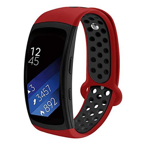 Aresh kompatibel Samsung Gear Fit 2 Zubehör uhrenarmband, Weiche Silikon Ersatz Armband kompatibel Samsung Gear Fit 2(Schwarz Rot)
