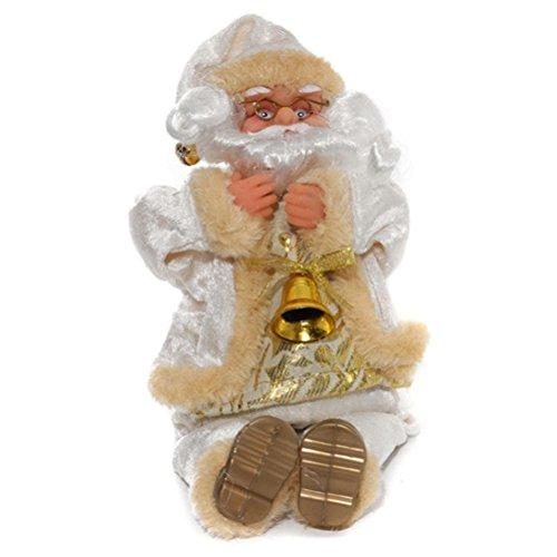 Babbo natale peluche oulii oggettistica a forma di babbo natale con campanella per regali e decorazioni natalizi (bianco)