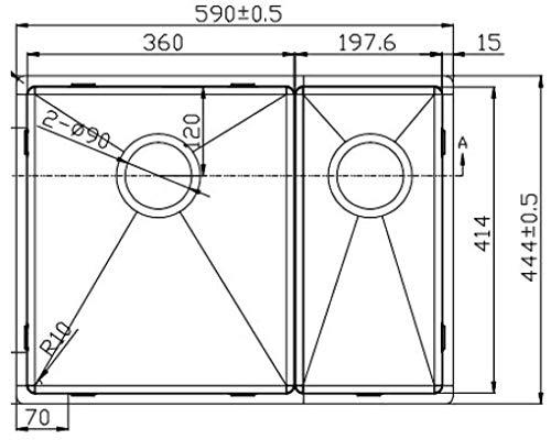 Mizzo Design 36-20 – Fregadero de acero inoxidable, apto para armarios inferiores de 60 cm, dimensiones exteriores: 590 x 444 mm