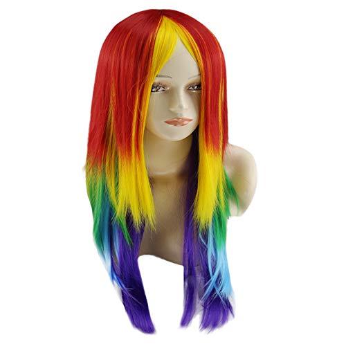 Perücke für Frauen, friendGG Mein kleines Pony Rainbow Dash Cosplay Perücke Pferdeschwanz Multi Color Synthetic Full Lang (Multicolor) (Mein Kleines Pony Kostüm Für Erwachsene)