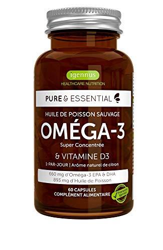 Pure & Essential Huile de Poisson Sauvage Oméga-3 Super Concentrée & Vitamine D3, 660 mg EPA & DHA, 1-par-jour, 60 gélules
