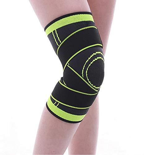 OOSM&H 3D Weaving Sport Knieschützer Compression Kniestütze Basketball Tennis Wandern Radfahren Knie Unterstützung Schutz Sport Knieschoner 1 para,Green,L