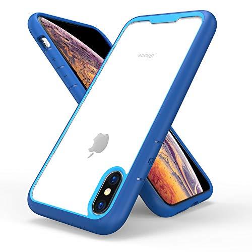 FNBK iPhone XS Max Hülle mit stylischem Rand Soft Silikon TPU Gel Bumper Case dunkelblau