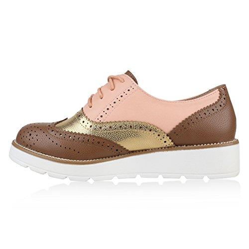 Damen Halbschuhe Dandy Style Brogues Profilsohle High Fashion Braun Apricot