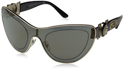 7909b6ead93c Versace Medusa Leather Bridge Detail Aviator Sunglasses in Gold ...