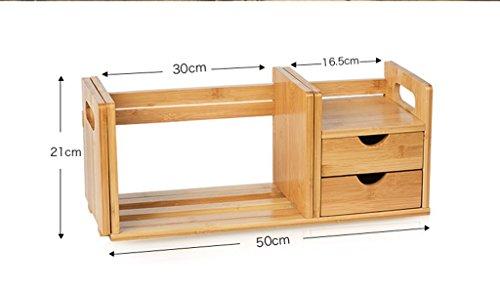 Make-up Schmuck Veranstalter 2 Schublade Bücherregal Bambus Box Wasserdicht Oxford Desktop-Speicher (beige) 2 Schubladen Bücherregal
