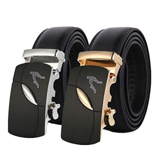 Collienght Herren Leder Ratschenkleid Gürtel mit Schnalle Mode personalisiert Custom Gürtel(Silber Einstellbar) - Gürtel Schnalle Honda