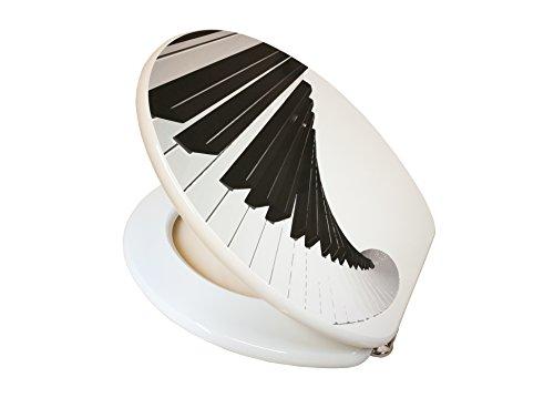 / Toilettendeckel / WC Sitz / Hochwertige Qualität in der Farbe Weiß mit einem Klaviermuster (Günstige Keramik-töpfe)