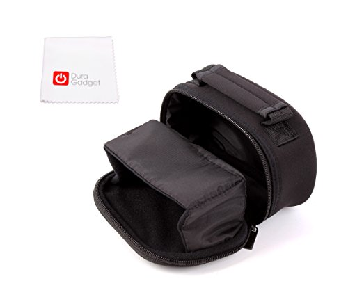 Schwarze Camcorder Tasche für Sony HDR-CX240 HD Flash Camcorder - mit praktischer Gürtelschlaufe und Tragegriff - und Reinigungstuch - von DuraGadget