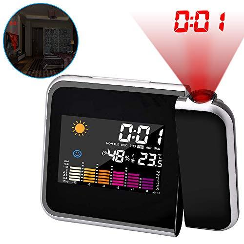 A+ Projektionswecker, Digital Projektion Taktgeber mit Temperaturanzeige | Hygrometer/Innentemperatur/Wecker/Uhrzeit- und Datumsanzeige | 9,27 cm LCD-Farb-Displaybeleuchtung/LED-Backlight/Snooze