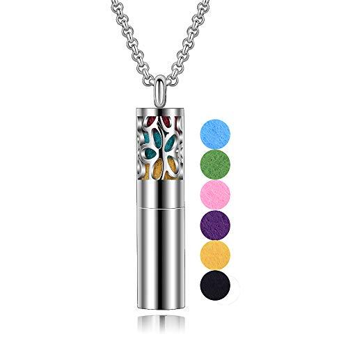 INFUSEU Edelstahl-Diffusor-Halskette für ätherische Öle mit 18 Nachfüll-Filzgummis, 24-Zoll-Kette, tragbarer 2-in-1-Mini-Parfümbarren-Medaillon, Aromatherapie-Schmuck