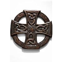 De la cruz céltica, colgante de pared de madera, comercio justo 35 cm marrón