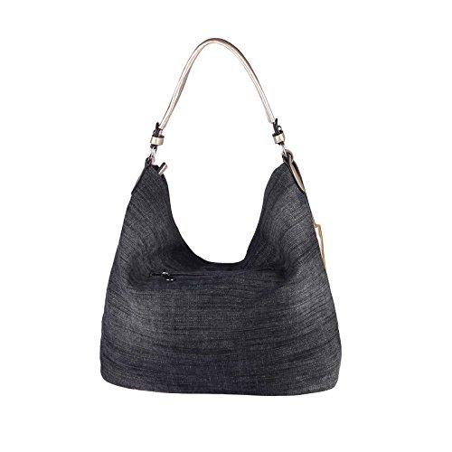 OBC Only-Beautiful-Couture , Cabas pour femme bleu Blau 35x30x15 cm ca.: 35x30x15 cm (BxHxT) noir-argent (paillettes)