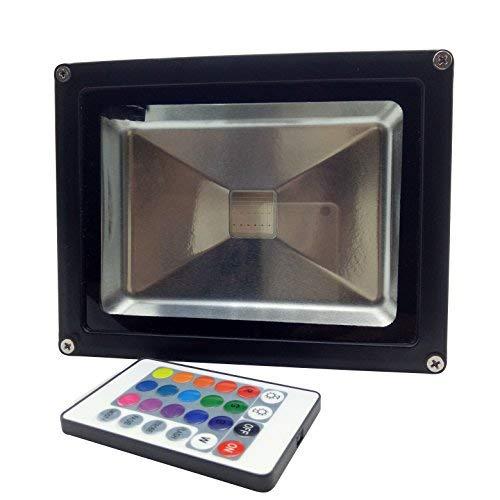 YXH® 20W RGB LED Scheinwerfer Farbwechsel Ac 85-240 V,LED-Sicherheitslicht,(16 Farben & 4 Modi, 24 Tasten Fernbedienung) Scheinwerfer LED, Wasserdichte Landschaftslicht (20W) - Deckenfluter Ist Muster