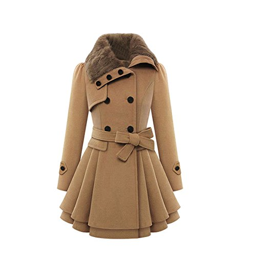VEMOW Herbst Frauen Warm Schlank Mantel Mode Kunstpelz Revers Zweireiher Jacke Parka Mantel Lange Wolle Trenchcoat Jacke Winter Outwear(Türkis, EU-36/CN-S)