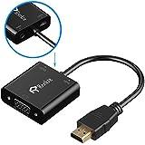 Adaptador HDMI a VGA, Rankie 1080P 3.5mm Chapado En Oro Activo HDMI Macho a VGA Hembra Adaptador con Micro USB Cable de Carga HDTV Adaptador Convertidor - R1150