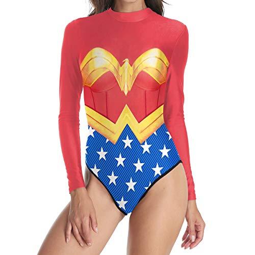 Hero Womens Kostüm Super - QQWE Frauen Super Hero Wonder Woman Cosplay Schwimmen Kostüm Bademode Badeanzug Langarm Beachwear,A-L