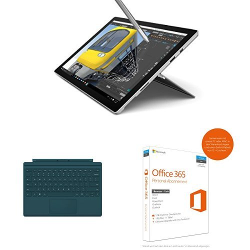 Preisvergleich Produktbild Set aus Microsoft Surface Pro 4 31,24 cm (12,3 Zoll) Tablet-PC (Intel Core i7, 16GB RAM, 512 GB, Intel Iris Graphics, Windows 10 Pro) + Microsoft Surface Pro 4 Type Cover petrol + Microsoft Office 365 Personal - 1 PC/MAC - 1 Jahresabonnement - multilingual (Product Key Card ohne Datenträger)