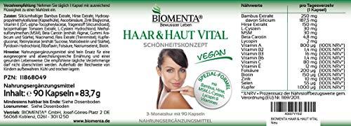 BIOMENTA HAAR & HAUT VITAL | VERBESSERTE REZEPTUR!!! | 3 Monatskur | mit Bambus Extrakt (Silizium), Hirse, L-Cystein, MSM, Lycopin, Biotin, Zink, Selen, Kupfer, B-Vitamine, Vitamin