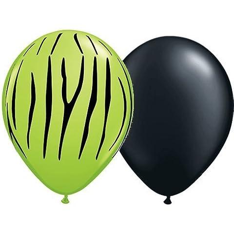Lime Green Zebra Print & Black Balloons (12) Birthday Party Animal Stripe Shower by Qualatex - Green Zebra Animal Print