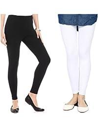 FashGlam Women Premium Ankle Length Leggings - Combo - Black,White