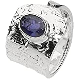 """Ring """"Pepita"""" 5-14mm mit einem ovalen, facettierten Iolith, Sterlingsilber 925"""