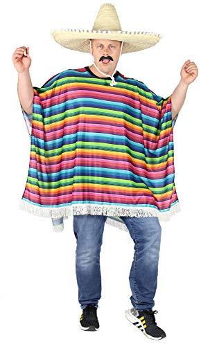 Foxxeo Mexikaner Poncho für Erwachsene Kostüm für