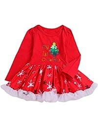 Selou Mädchen Brief gedruckt Overall Cartoon Weihnachten Spitze Tutu Weihnachten Kleinkind Kleid Roter langer Ärmel Kinderkleidung PulloverManteljacke Streetwear Partykleid Minirock