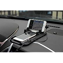 Eximtrade Universal Auto Anti-Rutsch Klebrige Auflage Silikone Magnetisch Armaturenbrett Handy Halterung mit 2 Schlitze für Apple iPhone 5/5s/6/6s/6 Plus/6s Plus, Samsung Galaxy S4/S5/S6/S6 Edge/S6 Edge Plus/Note 3/Note 4/Note 5, HTC One, Motorola, Sony Xperia, andere Smartphones