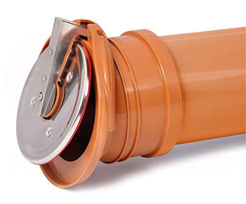 Rückstauklappe Froschklappe Ø 110 mm orange Auslaufstück HT KG Dränage Rohr Kanal