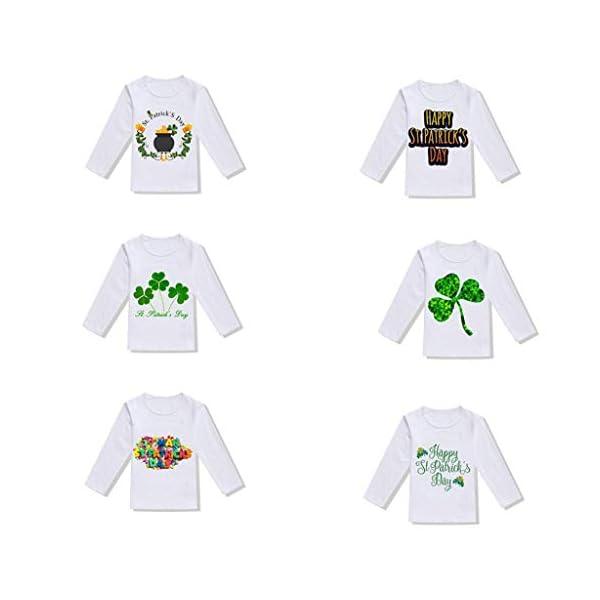 Mitlfuny Primavera Dia de San Patricio Ropa Deportiva Bebé Niña Trébol Letras Impresión Tops Algodón Camisas de Manga… 3