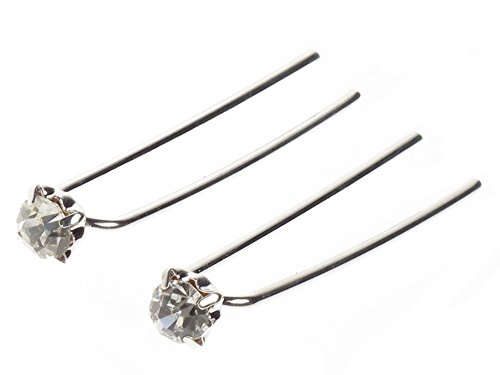 Ladies Pair of 6cm Crystal Bridal Hair Pins - Great for Parties, Formal Dinners by Glamour Girlz