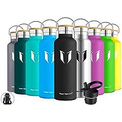 Super Sparrow Botella de Agua aislada al vacío de Acero Inoxidable, diseño de Pared Doble, Boca estándar - 750ml - Eco Friendly & BPA Gratis - para Correr, Gimnasio, Yoga, Ciclismo