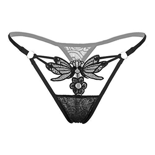 Overdose Women Girl Gauze Bowknot Beads Lace Panties Knicker Thong Lingerie Underwear (Z56_Black)