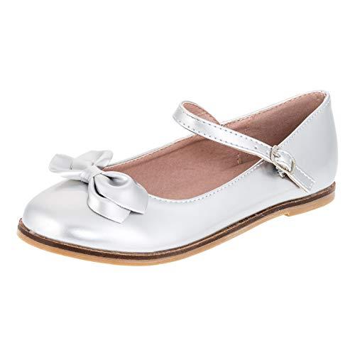 Festliche Kinder Mädchen Ballerinas Schuhe für Partys und Freizeit in Vielen Farben M297si Silber Gr.26